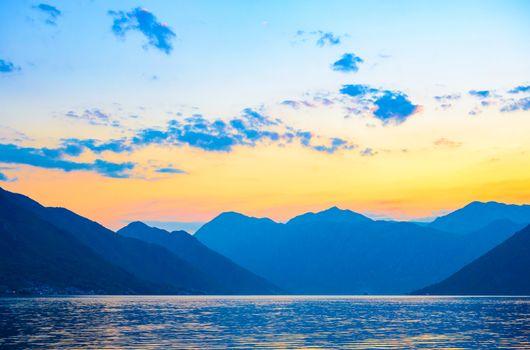 Bay of Kotor at Sunset. Panorama of Boka-Kotorska bay, Montenegro.