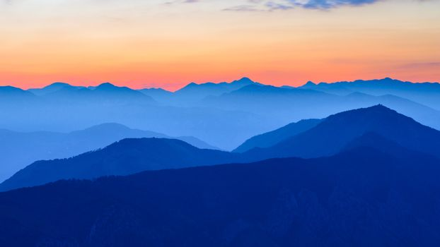 Sunset in the Mountains. Dinaric Alps, Montenegro