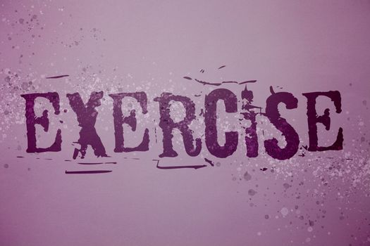 Conceptual hand writing showing Exercise. Business photo text Activity requiring physical effort Bringing into play Training Ideas messages purple background splatters inspiration communicate