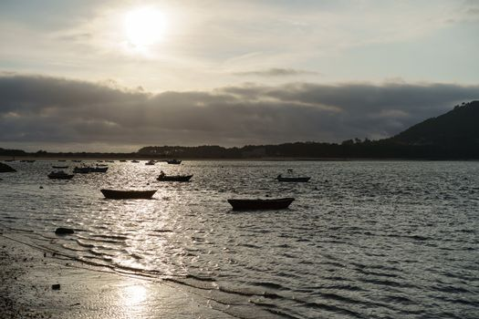 The Minya (Minha) River at low tide. This is the mouth of the River Minya, here it flows into the Atlantic Ocean. The border between Portugal and Spain runs through the middle of the Minya River