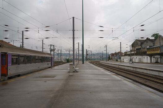 Train, platform, rainy day, anywhere in the northern Portugal