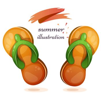 Flip-flops cartoon illustration om the white background.