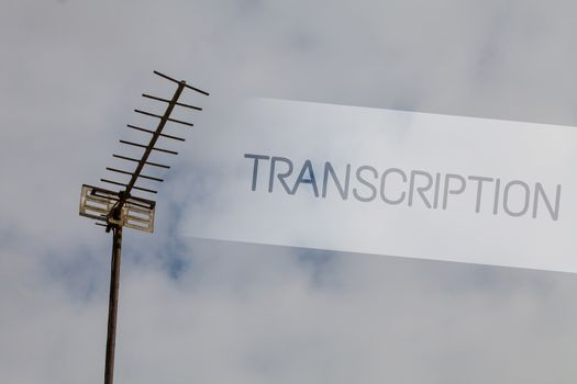 Writing note showing Transcription. Business photo showcasing Written or printed process of transcribing words text voice Sky cloud cloudy grey gloomy tall big antenna nature rainy day weather