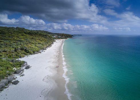 Idyllic Hyams Beach Australia with beautiful white sandy beaches and crystal clear waters