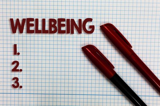 Conceptual hand writing showing Wellbeing. Business photo showcasing Healthy lifestyle conditions of people life work balance Graph paper ideas important marker pens practical book jobs