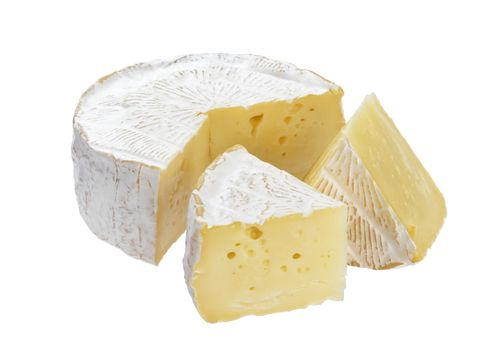 Camembert cheese isolated on white background with clipping path
