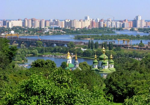 Beautiful cityscape of Kiev with a view of the Dnieper and the Cathedral of St. Sophia of Kiev