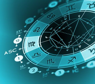 Astrology background. Example of the natal chart the planets in the houses and aspects between them