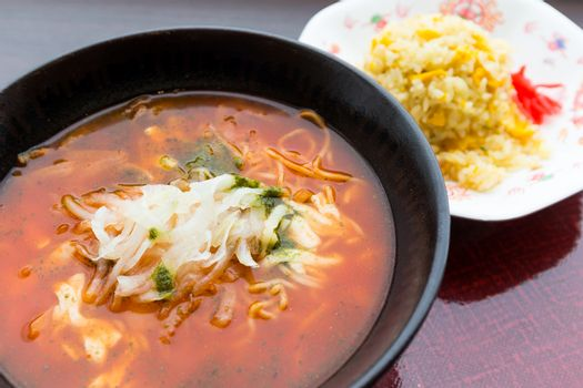 Japanese spicy ramen and fried rice