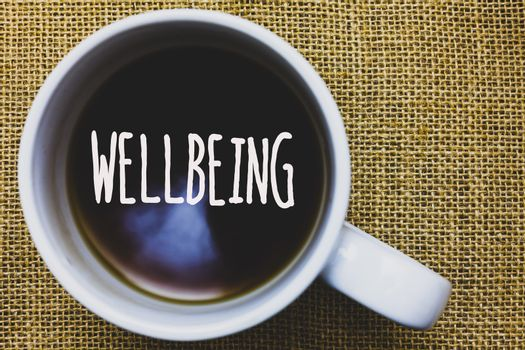 Handwriting text writing Wellbeing. Concept meaning Healthy lifestyle conditions of people life work balance Mug coffee thoughts ideas creative inspirations nice mat black shadow