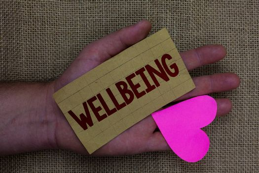 Writing note showing Wellbeing. Business photo showcasing Healthy lifestyle conditions of people life work balance Wood art work memories lovely love thoughts mat memories hart shadow