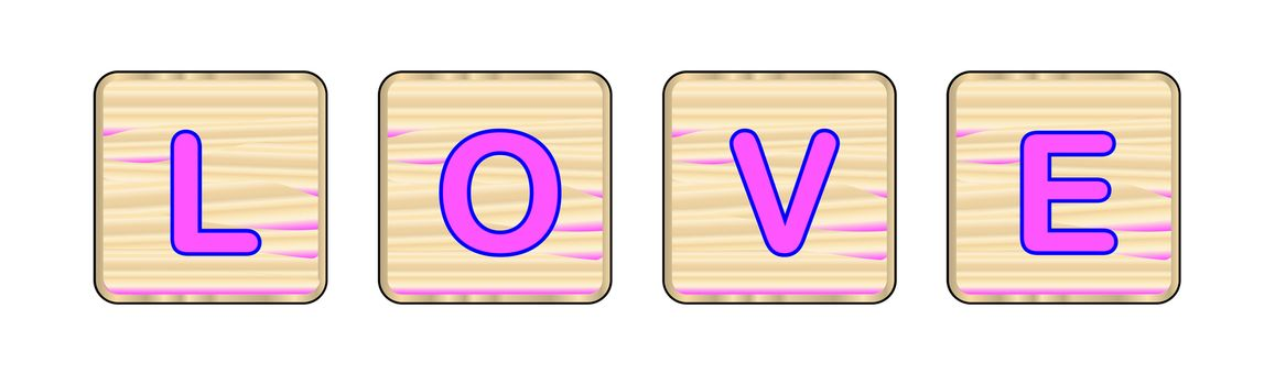 Four wooden letter blocks spelling out the word love all over a white background