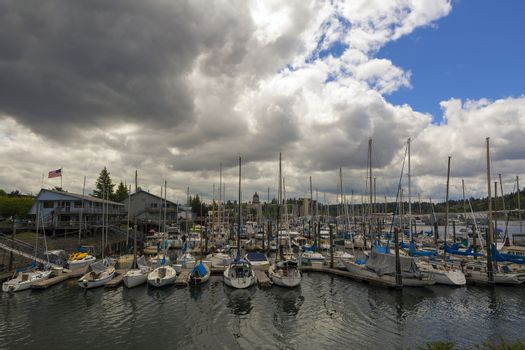 Marina in Olympia Washington State by Capitol building on a cloudy day