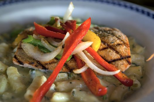 Grilled Wild Alaskan Salmon with onions bell peppers over creamy alfredo penne pasta dinner plate closeup