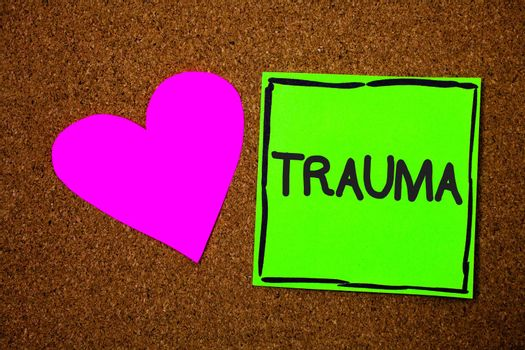Writing note showing Trauma. Business photo showcasing Disturbing physical and emotional injuries shock experience Love brown colour nice hart art work paper board designs black shadow