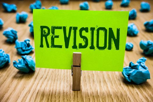 Word writing text Revision. Business concept for Rechecking Before Proceeding Self Improvement Preparation Paper cyan object thoughts crumpled papers ideas mistakes several tries