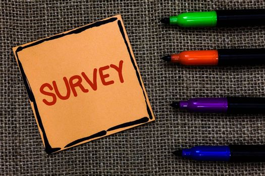 Word writing text Survey. Business concept for Questioning group of people to gather opinion on a particular subject Marker pens art board small pitch paper lovely love ideas mat black shadow