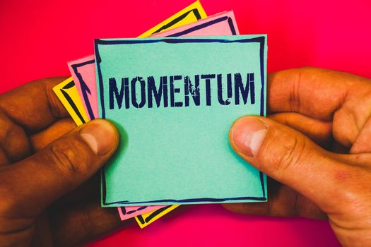 Writing note showing Momentum. Business photo showcasing Quantity motion in moving body Product of mass and velocity Small multi colour notes hand border plane background remember card