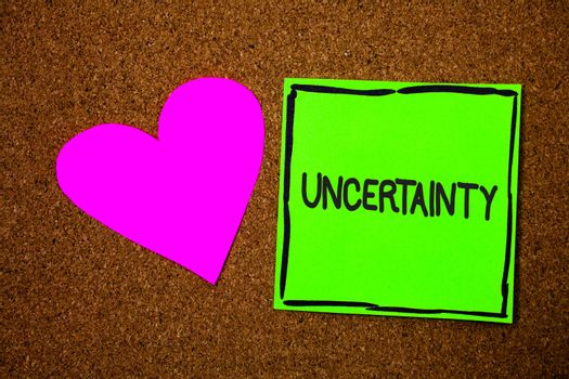 Writing note showing Uncertainty. Business photo showcasing Unpredictability of certain situations events behavior Love brown colour nice hart art work paper board designs black shadow