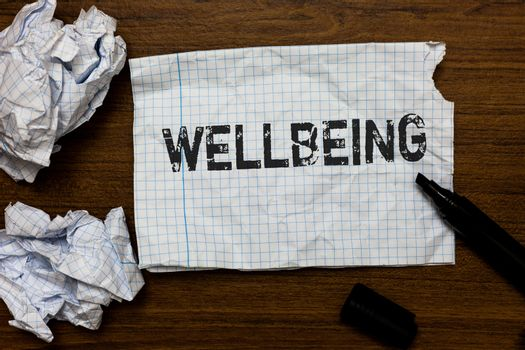 Handwriting text writing Wellbeing. Concept meaning Healthy lifestyle conditions of people life work balance Ideas papers inspiration memories love thoughts mistakes several tries