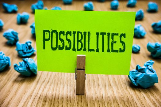 Word writing text Possibilities. Business concept for Things that may happen or be the case State of being possible Paper cyan object thoughts crumpled papers ideas mistakes several tries