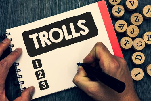 Writing note showing Trolls. Business photo showcasing Online troublemakers posting provocative inflammatory messages Creative idea paper object inspiration lovely thoughts puzzle notepad