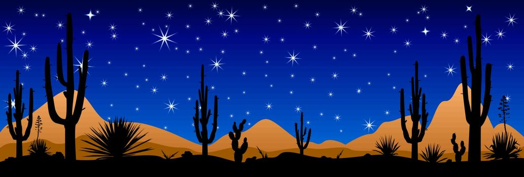 A stony desert at night. Desert landscape, night scene. Desert with cactuses against the background of the night starry sky.