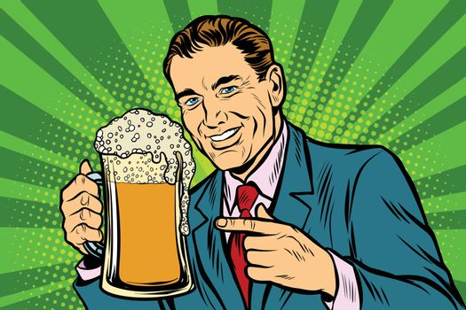 Man with a mug of beer foam