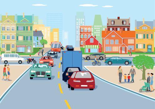 City with traffic illustration