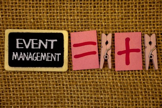 Writing note showing  Event Management. Business photo showcasing Special Occasion Schedule Organization Arrange Activities Ideas on blackboard chalk letters equal plus signs cloth pins wicker