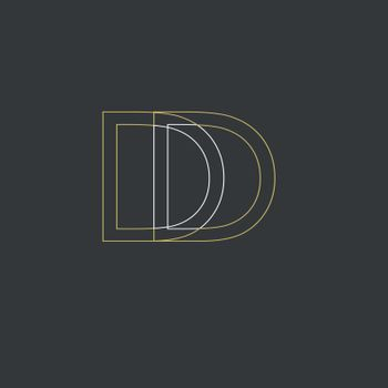 Unique modern creative clean connected fashion brands black and gold color DD D initial based letter icon logo.