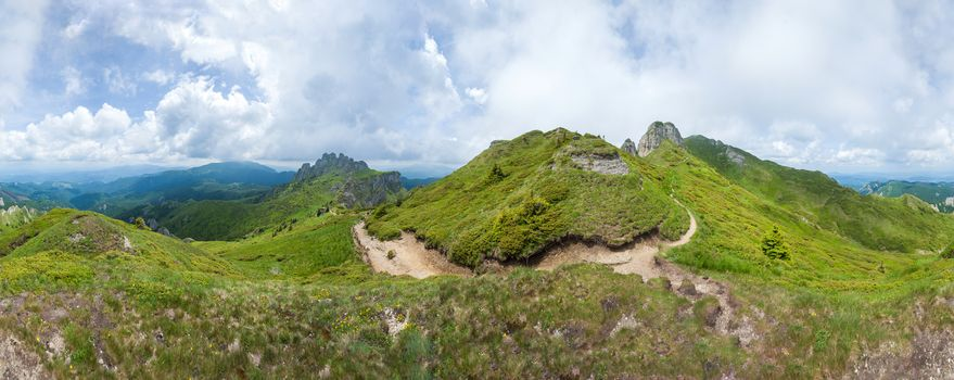360 degree panoramic view of Mount Ciucas on summer, part of the Carpathian Range from Romania