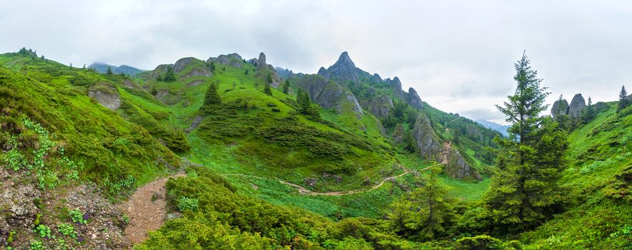 Panoramic view of Mount Ciucas on summer, part of the Carpathian Range from Romania