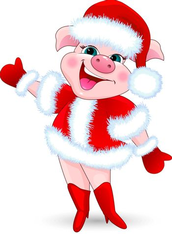 Cartoon pig in Santa Claus costume on a white background.