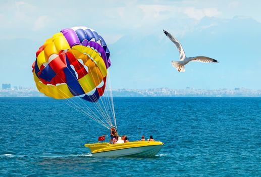 Parachute on sea