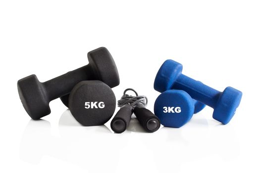 3 and 5 kg dumbbells with skipping rope