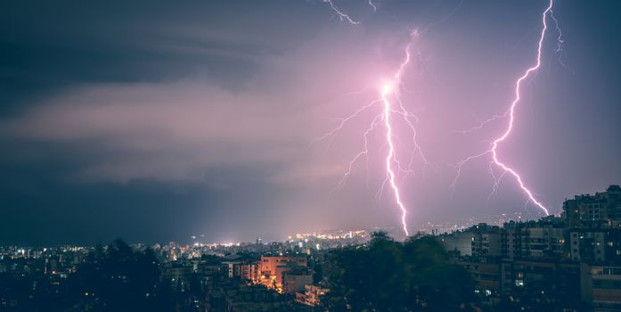 Two lightning in the city at night