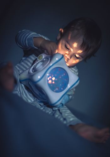 Baby boy with magical toy