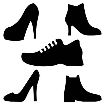 Shoes vector icons. Sneakers and women shoes, footwear icons. Vector illustration