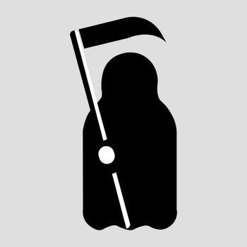 Cartoon Death with scythe icon. Black and white flat geometric vector illustration.