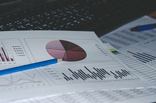 Business document Financial chart and graph.