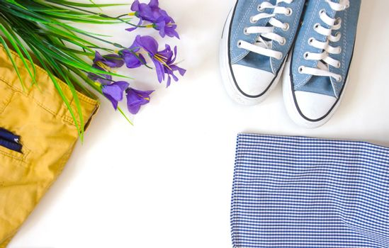 The concept of travel. Out of the traveler accessories. Flat lay traveler on a background with copy space. Vintage tone