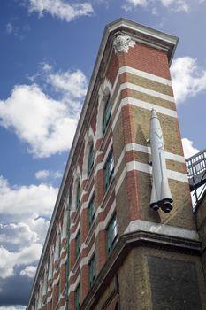 V2 rocket on a building wall at london bridge