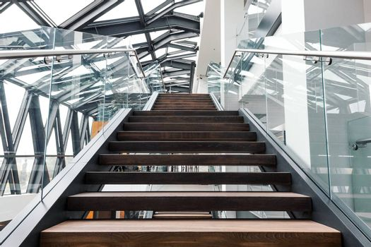 Empty stairs in modern interior of contemporary office building