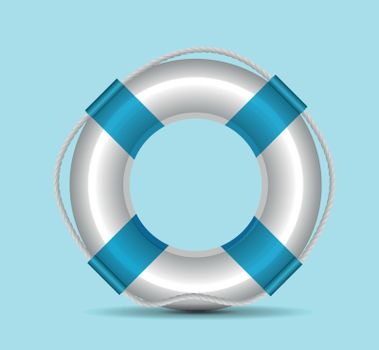 Life buoy vector illustration on blue background