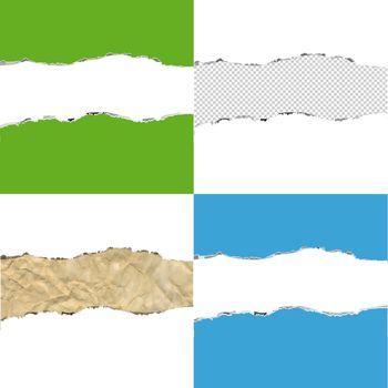 Color Torn Paper Borders