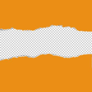 Orange Torn Paper Borders With Transparent Background