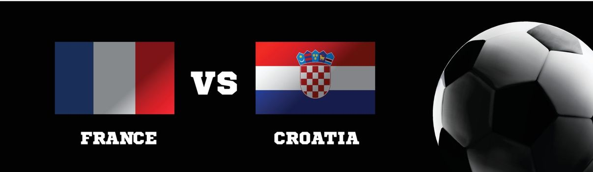 Flags of France and Croatia against the backdrop of grass football stadium. Vector illustration