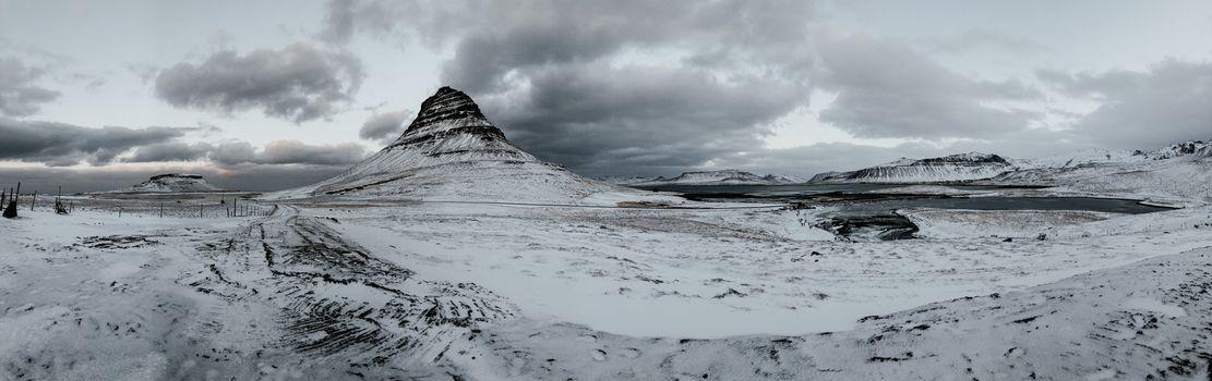 Panorama of Kirkjufell in the winter