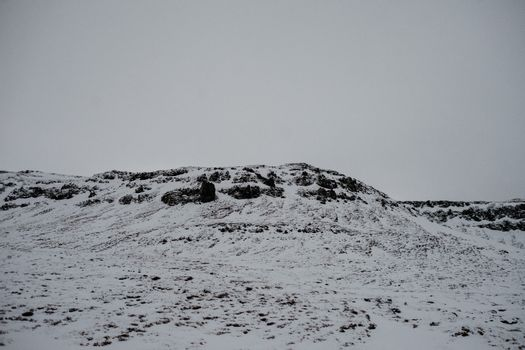 Snow covered landscape in Iceland